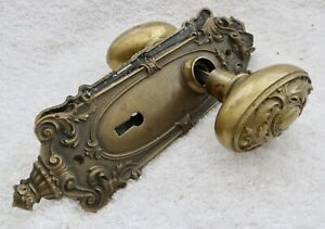 Antique Ornate Victorian Solid Brass Oval Door Knobs With Face Plates