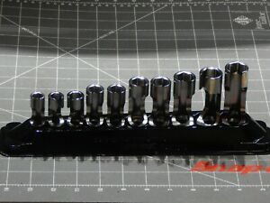 1 Used Snap On 10pc Metric 3 8 Dr Flare Nut Socket Set 10mm 19mm 6pt 210frxm