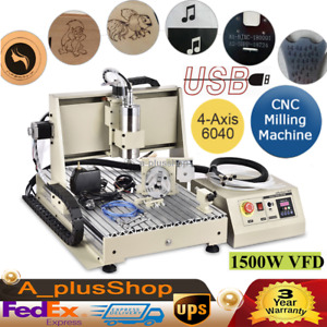 Usb 4 Axis Router Engraver Cnc 6040 Engraving Drilling Milling Machine Vfd 1 5kw
