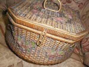 Antique Victorian Pink Barbola Roses Wicker Sewing Basket Flowers Lined Charming