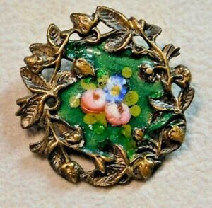 Antique Vtg Button Tiny Brass Strawberries With Enamel Flowers