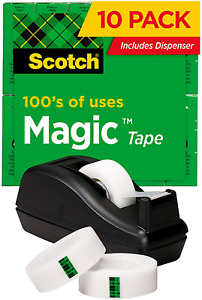 Scotch Magic Tape 6 Rolls With Dispenser Numerous Applications Invisible For