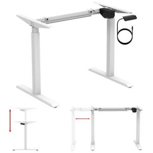 Electric Motor Sit Stand Computer Desk Frame Height Adjustable Home Office White