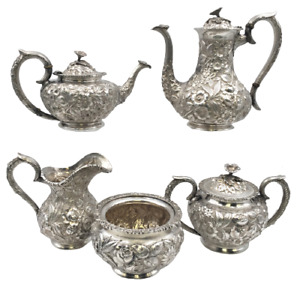 Schofield Sterling Silver Repousse 5 Piece Tea Coffee Set Commissioned By The Ci