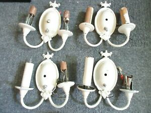 Antique Wall Sconces Lot Of 4 Matching 2 Arm Architectural Salvage