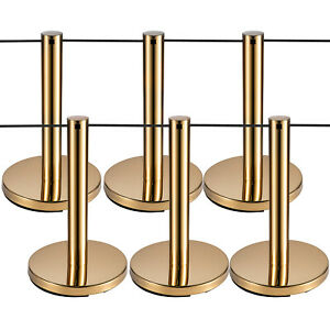 Vevor Crowd Control Barriers Line Dividers With Black Ropes Gold Poles 6pcs