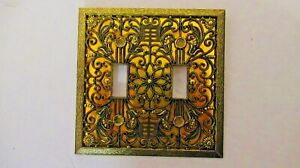 Vintage Ornate Brass Floral Filigree Double Light Switch Plate Cover