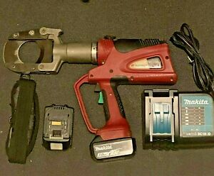 Burndy Patriot Patcut245li Hydraulic Cable Cutter Tool W Batteries Charger