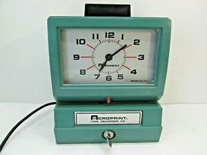 Acroprint Time Recorder Co Time Clock Model 125nr4 With Key