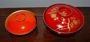 Old Or Antique Japanese Lacquered Covered Bowls Gold Makie Flowers Turtle