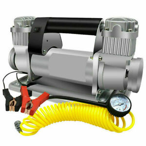 Heavy Duty 150psi Car Tyre Air Pump Tire Inflator Compressor Double Cylinder 24v