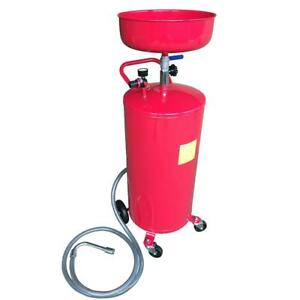 20 Gallon Waste Oil Drain Air Tank Operated Drainer Oil Change Wheel Hose Red