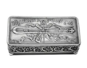 Victorian Meriden Silver Plate Valuable Points Hair Pin Jewelry Trinket Ring Box