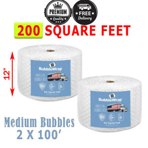 200 Feet Medium Bubble Wrap Roll 12 Wide 5 16 Bubbles Perforated 12 Premium
