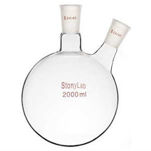 Stonylab 2000ml Glass 2 Neck Round Bottom Flask Rbf With 24 40 Center And Side