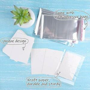Miahart 150 Set Earring Holder Cards Necklace Display Cards With 150pcs Bags For