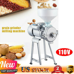2200w Electric Corn Grain Wheat Cereal Feed Grinder Machine Wet Dry Mill funnel