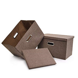 File Storage Box Collapsible Decorative Linen Filing Storage Portable Office