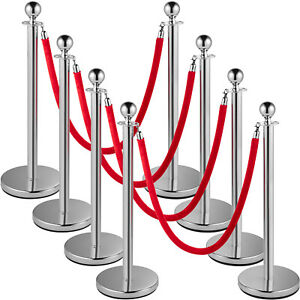 Vevor Crowd Control Stanchion Stanchion Set 8 Pieces With Red Velvet Rope silver