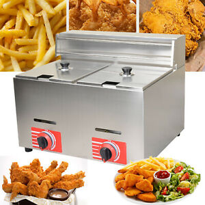 2 10l Commercial Countertop Gas Fryer Deep Gas Fryer Stainless Steel 6 6kw h
