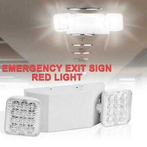 1pack Double Heads 2 Led Home Office Market Exit Sign Emergency Lighting Lamp Ul