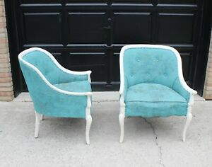 Vintage French Country Shabby Chic Grain Sack Club Chairs A Pair