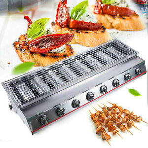 Commercial 8 Burner Lpg Gas Bbq Grill Cooking Tool Smokeless Home Garden Party