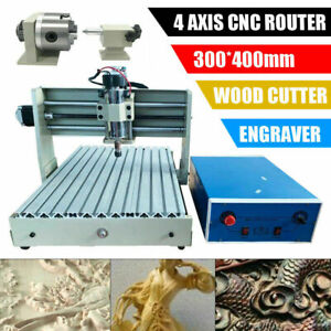 400w 4 Axis Cnc 3040 Router Desktop Engraver Wood Working Drilling Machine