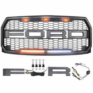 Fit Ford F150 15 17 Truck Black Raptor Style Grill Shell Replacment Led Letters