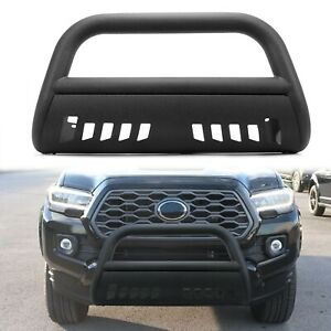 For 2016 2021 Toyota Tacoma 3 Bull Bar Grille Guard Front Bumper Texture Black