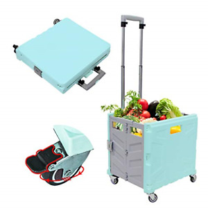 Foldable Utility Cart 4 Wheeled Collapsible Shopping Handcart With Brake System