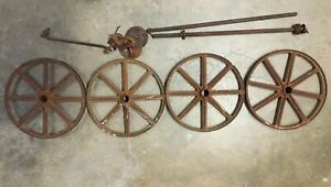 4 Antique Cast Iron 11 Inch Wheels Wagon Cart Child With 2 Axles Plus More