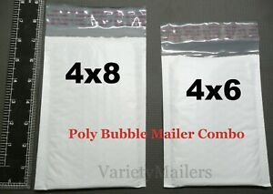 20 Small Poly Bubble Envelope Combo 4x6 4x8 Padded Shipping Mailers