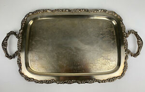 Vintage Oneida Victorian Style Serving Platter Tray Silver Metal Large Handles