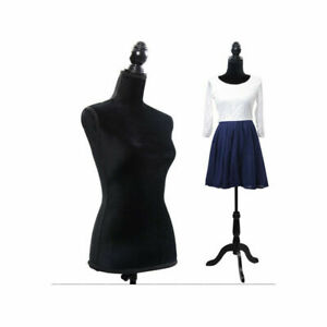 Female Mannequin Torso Clothing Clothes Dress Form Display Black Tripod Stand