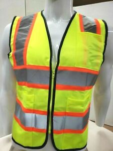 Neiko 53991a Neon Yellow High Visibility Safety Vest 3 Pockets And Zipper