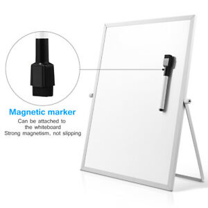Magnetic Double Sided Dry Erase White Board Marker Board With Stand For Desktop
