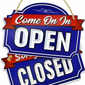 Xl Open Closed Sign Double Sided With Rope For Hanging 1 4 Inch Pvc 9 Blue