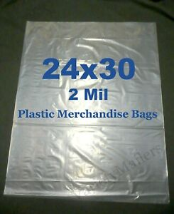 50 Extra Large 24x30 2 Mil Clear Flat Plastic Merchandise Storage Bags