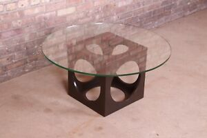 Roger Sprunger For Dunbar Walnut Cube Glass Top Cocktail Table 1960s