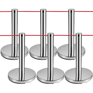 Vevor Crowd Control Barriers Line Dividers With Red Ropes Silver Poles 6pcs
