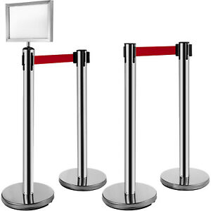 Vevor Crowd Control Barriers Line Dividers 4pcs Silver Poles With One Sign Frame