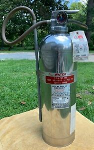 Vintage Bell System 2 5 Gallon Water Stainless Steel Fire Extinguisher Untested
