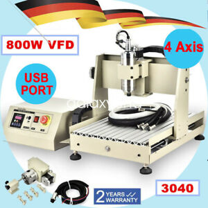 800w 4 Axis Cnc 3040 Router Engraver Milling Drilling Usb 3d Cutter Machine