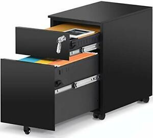 2 Drawer Mobile File Cabinet With Lock Metal Filing Cabinet For Black