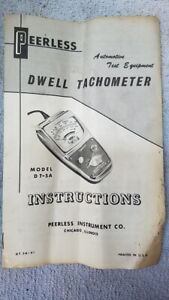 Vintage Peerless Instrument Co Tachometer Dwell Meter Dt 5a Instruction Manual