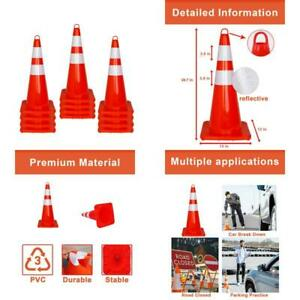 12 Pcs Traffic Safety Road Cones 28 Inch Orange Traffic Parking Cons With Refl