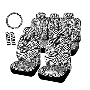 Autofan Zebra Car Seat Covers For Full Set With 2 Seat Belt Pads Universal 15