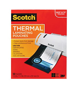 Scotch Thermal Laminating Pouches 8 9 X 11 4 inches 3 Mil Thick 50 pack