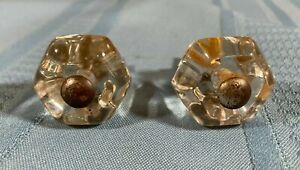 Set Of 2 Vintage 6 Sided Clear Glass Drawer Pulls Knobs W Screws